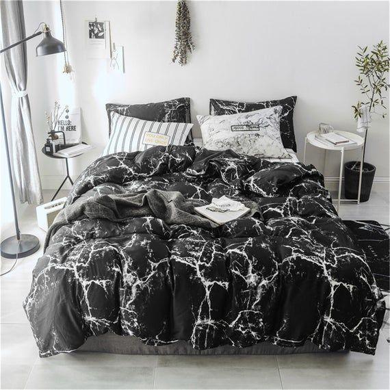 100 Cotton Duvet Cover Set Cotton Bedding Set Black Marble Bedding Sets Luxurious Bedding Duvet Cov Bed Linens Luxury Bed Linen Design Guest Room Bed