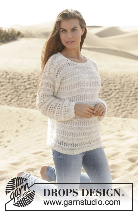 A sweetheart jumper! In garter st with #lace pattern by #DROPSDesign #ss2014 #yarnlove