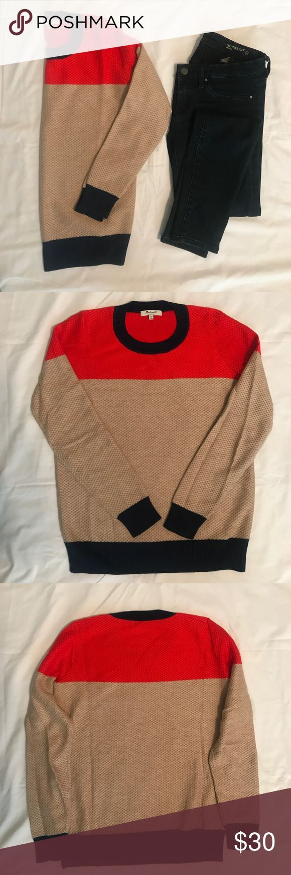 """Madewell color-weave sweater Madewell waffle knit color-weave sweater; navy, orange, and beige. This looks sweater is 100% cotton and is very soft. It is a perfect addition to your closet as the temperatures begin to fall. Will look great with jeans and boots or flats. Style under a vest or wear it by itself. Bust measures 16"""" across from armpit to armpit when laid on a flat surface. Length measures about 22.5"""" from to if shoulder to hem. Very good condition, like new. Size XS. Madewell…"""