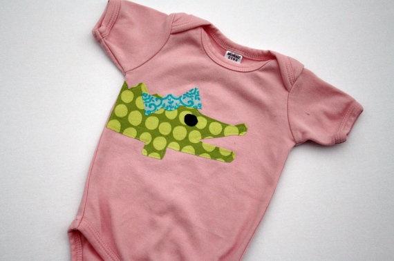 Girlie Alligator with Bow Applique Bodysuit or Shirt - You Choose Shirt Color and Sleeve Length. $19.75, via Etsy.