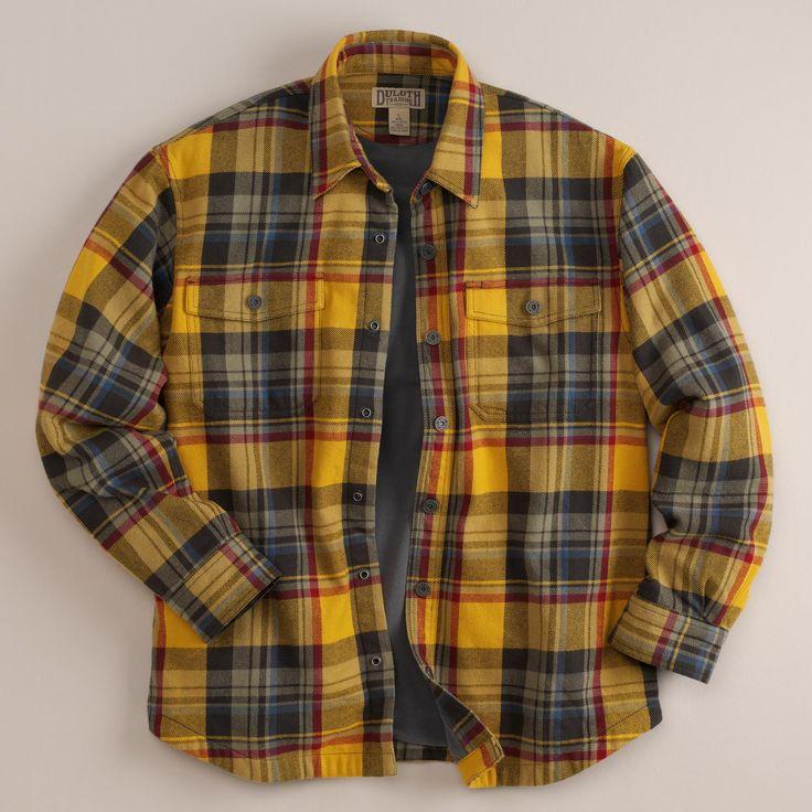 Golden amber plaid duluth trading co men 39 s flapjack for Fleece lined flannel shirt