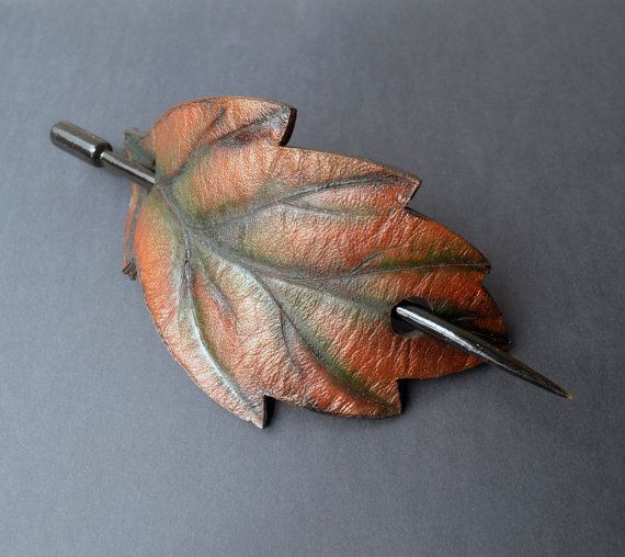 Leaf Barrette Leather Barrette Barrette with by SannaJewelry