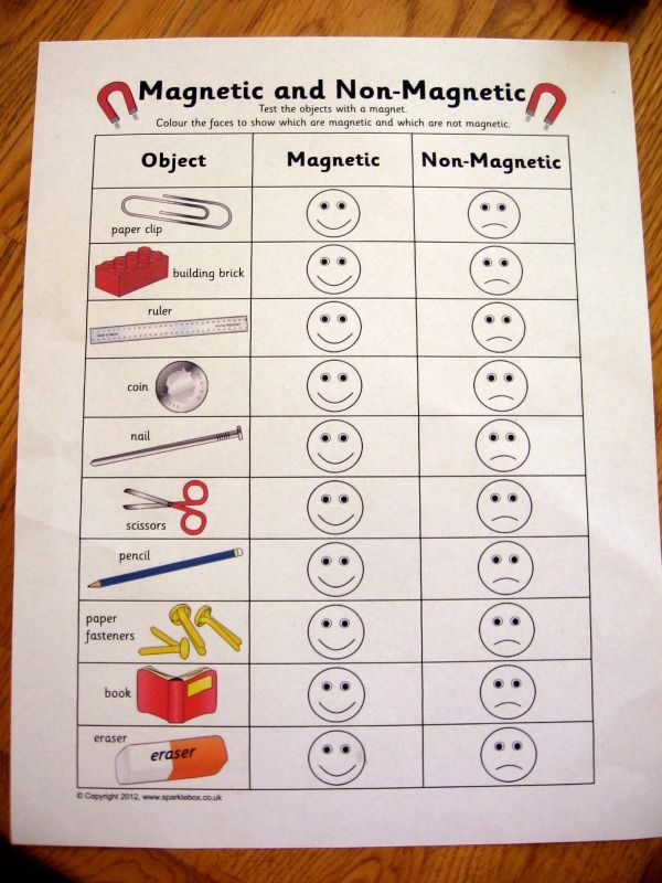 magnet fun for kids - let them investigate various objects and sort them as magnetic vs. non-magnetic
