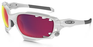 Oakley Racing Jacket Sunglasses with Matte White Frame and Prizm Road Persimmon Vented Lens
