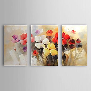 Hand Painted Oil Painting Floral Blooming Flowers with Stretched Frame Set of 3 1308-FL0733 – USD $ 99.99