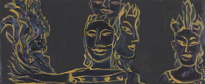 Leena Luostarinen: Jaavalaisittain III, 2012. Oil on canvas 73x92cm.
