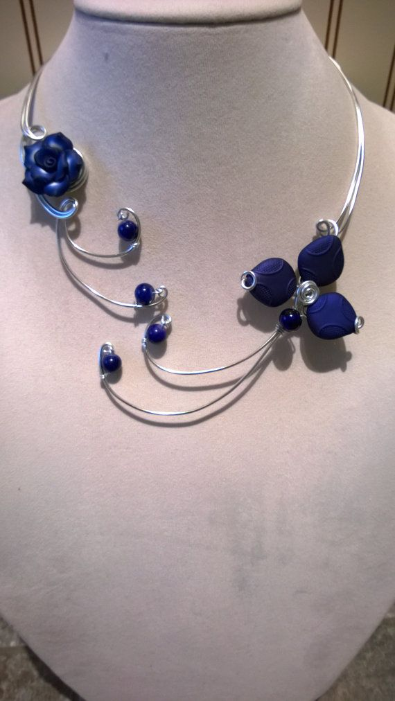 Royal blue jewelry Flower necklace Royal by LesBijouxLibellule