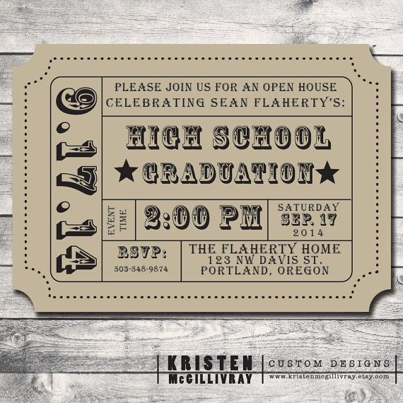 Graduation party party invitation diy digital file for Templates for tickets with stubs