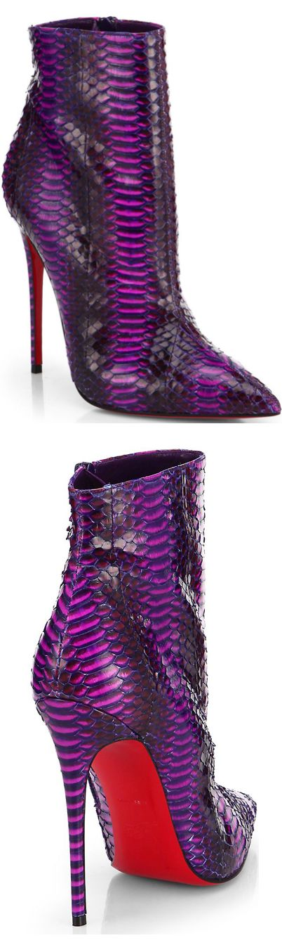 Christian Louboutin 'So Kate' Purple Watersnake Ankle Boots Spring 2014 #CL #Louboutins #Shoes
