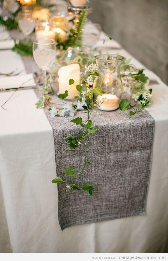Déco mariage chemin de table couleur cendre