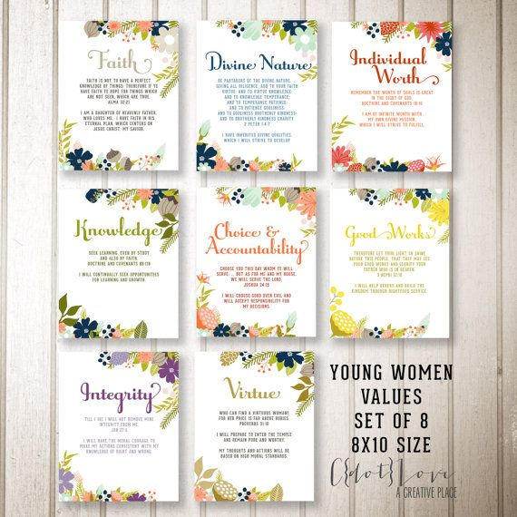 This set of 8x10 values coordinates with one of my 2015 Youth Theme designs. They would be perfect to hang in your Young Womens room, or display each