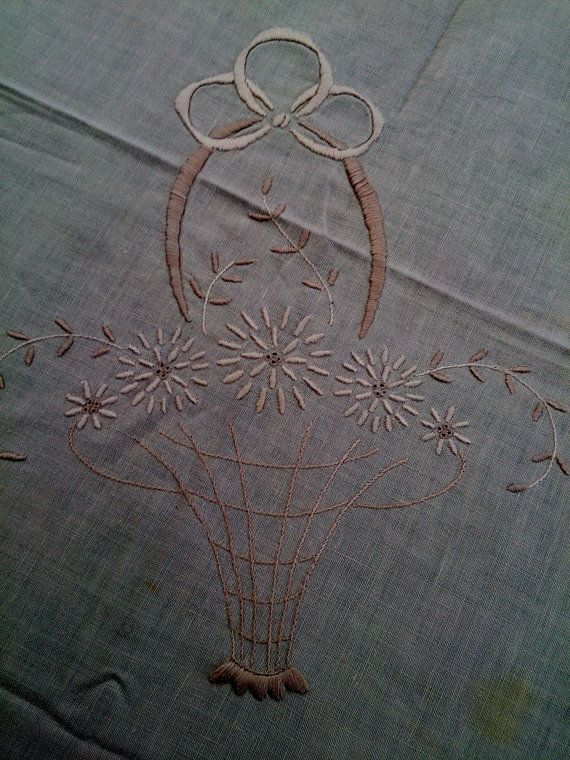 Vintage Small Square Embroidered Tablecloth. Ivory Linen Tablecloth with Ivory Flower Basket Embroidery and Crochet Lace Border  RBT0511