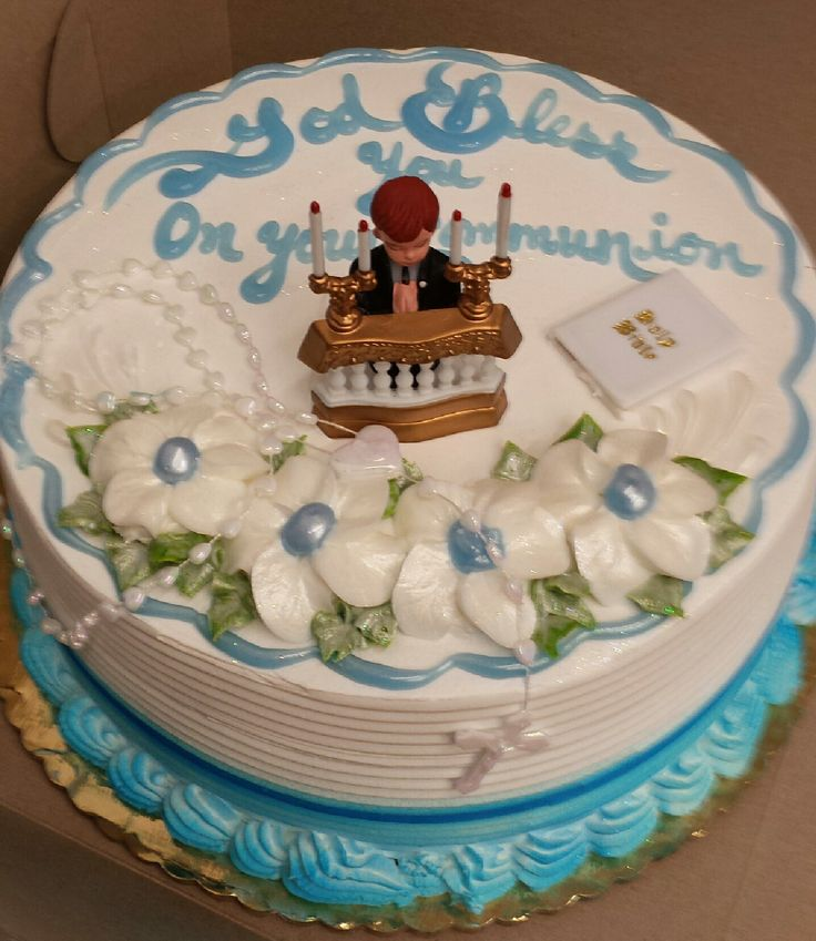 Calumet Bakery Boy Communion cake with boy kneeling at the alter.