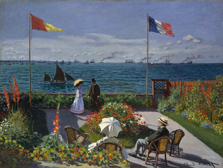 Claude Monet - Jardin à Sainte-Adresse: Terrace, Claude Monet, Metropolitan Museum, Art, Gardens, Claudemonet, Painting
