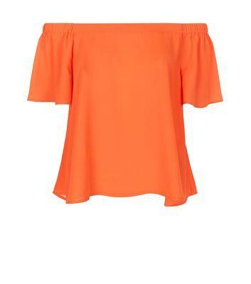 Orange Bardot Neck Top