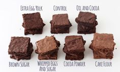 The Ultimate Brownie Comparison Chart - Applesauce is not on the chart but  Substitute some or all the oil with applesauce. The brownies are moister, chewier, and stay fresh longer!