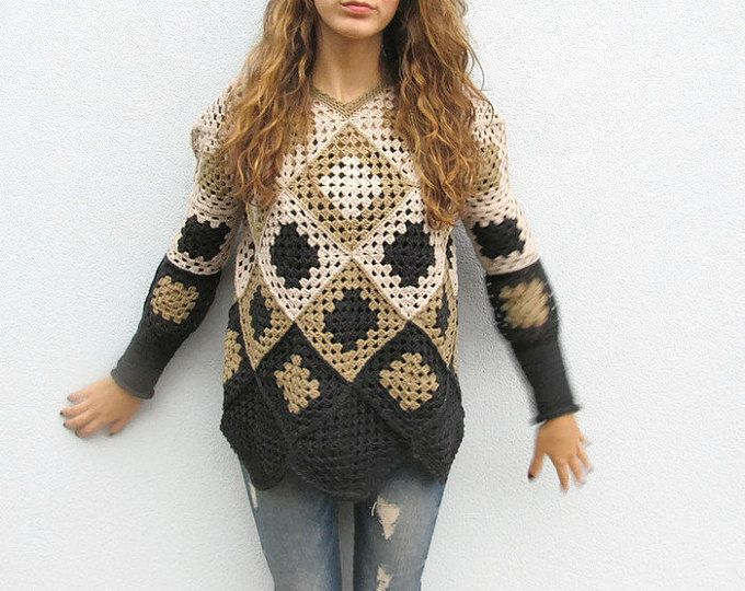 Crochet nonna piazza Womens Winter geometriche retrò Maglione Pullover