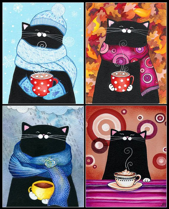 Happy Cats - Set of 4 Blank Greeting Cards - Winter Christmas Holiday