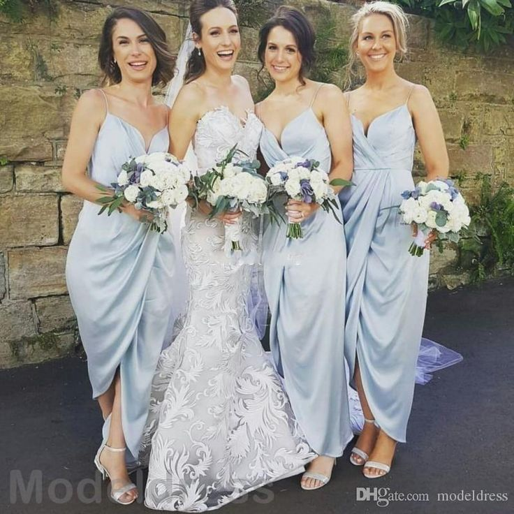 2017 Sky Blue Ankle Length Bridesmaid Dresses Spaghetti Straps Split Country Beach Maid of Honor Wedding Guest Party Gowns Cheap Custom Made Bridesmaid Dresses Cheap Bridesmaid Dresses Beach Bridesmaid Dresses Online with $88.0/Piece on Modeldress's Store | DHgate.com