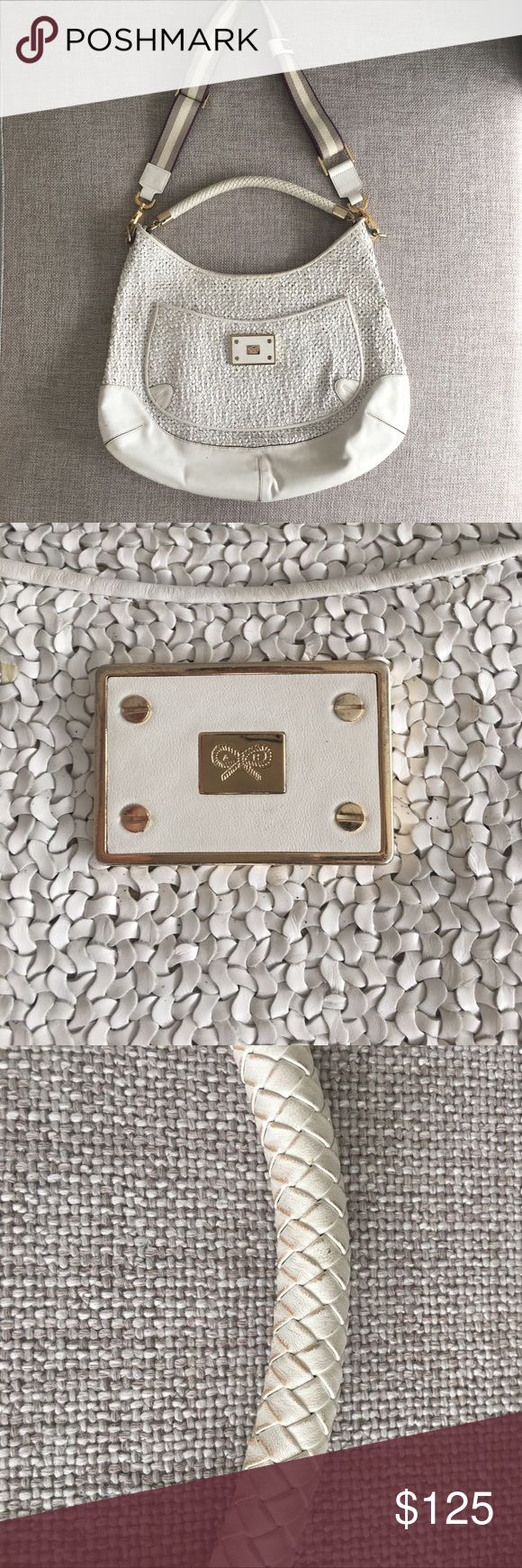 Authentic Anya Hindmarch purse Anya Hindmarch large White Leather Woven Shoulder Bag with additional strap. Gently used with some scuffs and markings. Authentic markings on handbag Anya Hindmarch Bags Shoulder Bags
