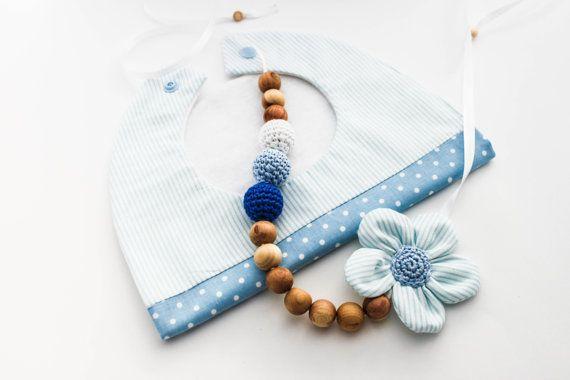 Baby Shower Gift Set Blue Nursing Necklace/Teething by CasaDeGato, $30.00