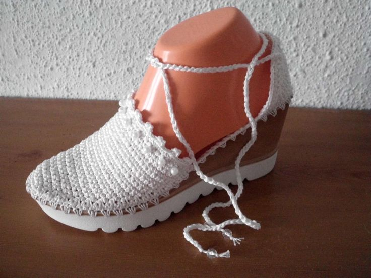 Comfortable white knitted sandals