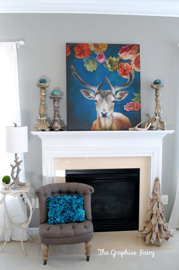 Love the blue and red - Christmas Home Tour