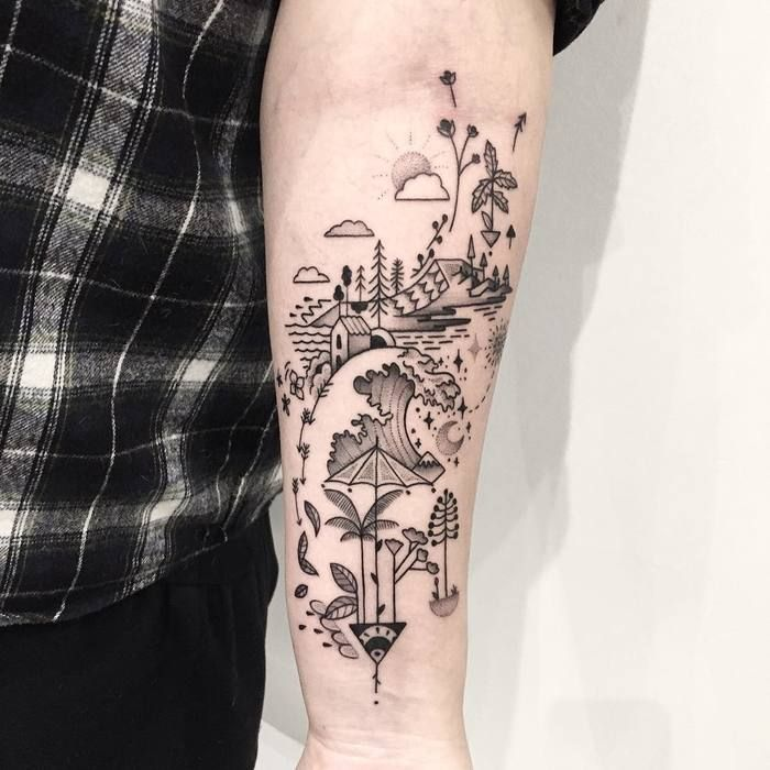 Abstract moon tattoo