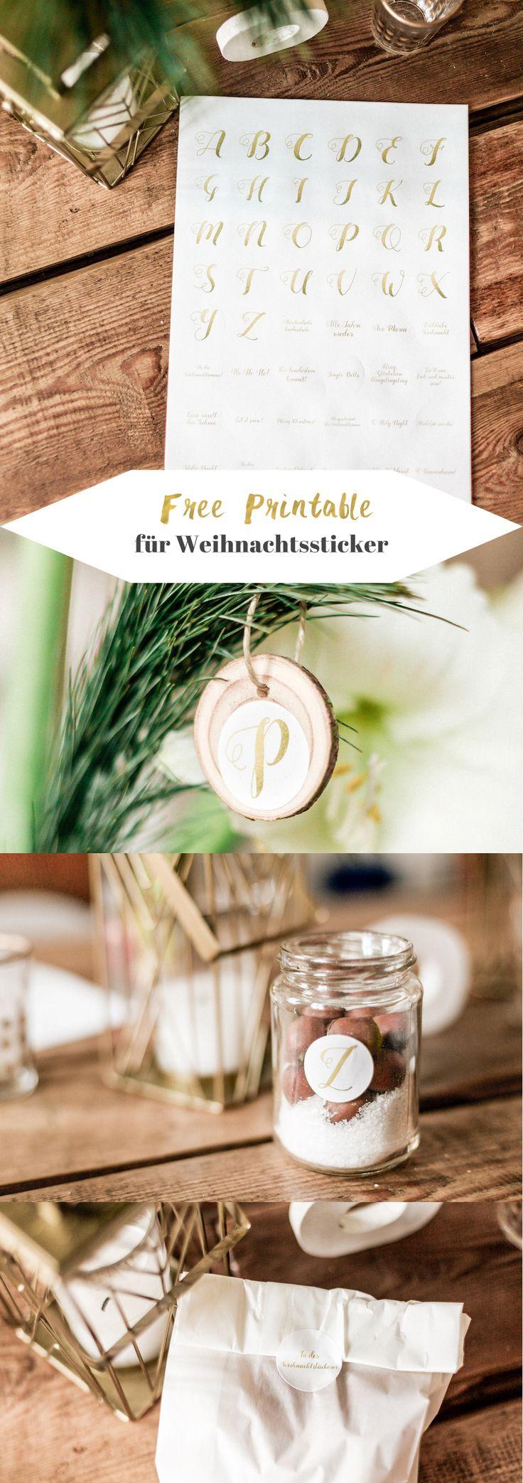 Goldene DIY Weihnachtssticker zum Selberausdrucken mit Buchstaben | Free Printable | Weihnachtsdeko | Weihnachtsbaumschmuck |