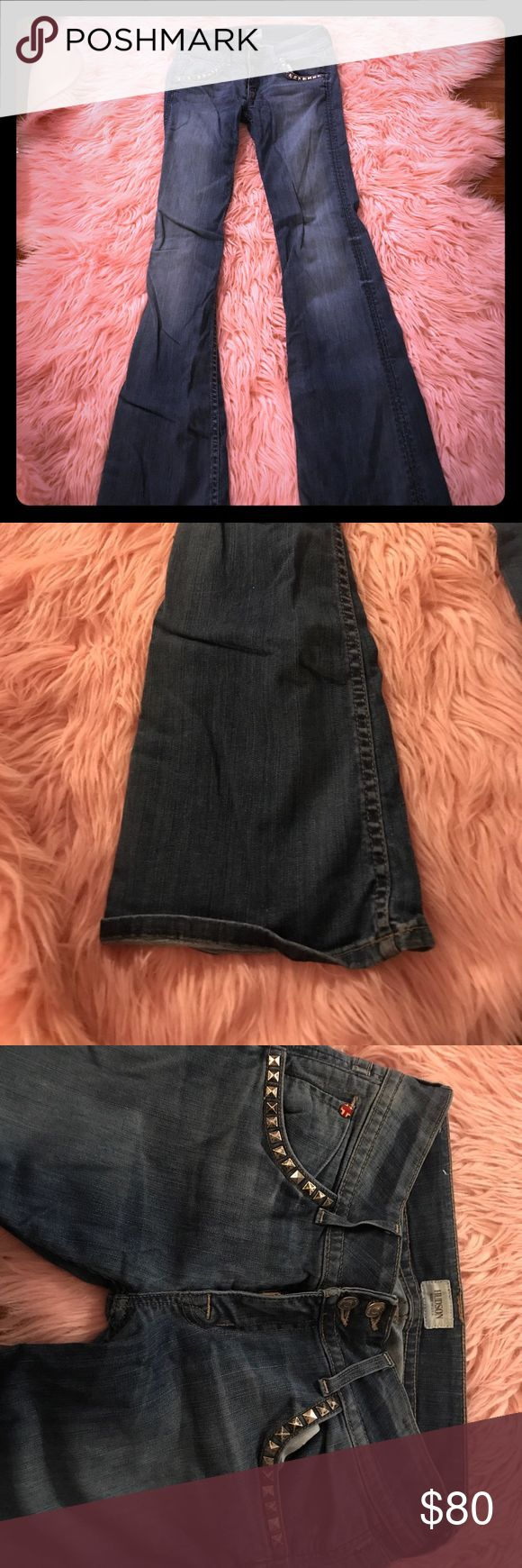 """Hudson Jeans with Studs Hudson Signature Bootleg Jeans w/19"""" opening. Silver nail heads on front pockets and back. Wear on bottom/back Hudson Jeans Jeans Boot Cut"""