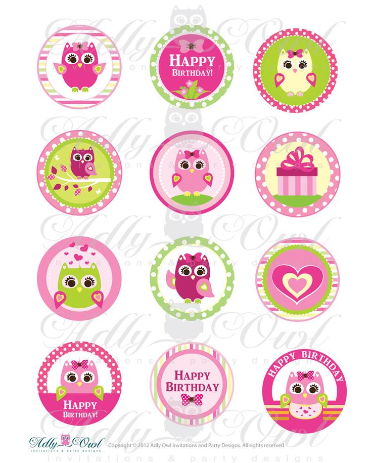 Pink Girl Owl Birthday Cupcake Toppers or by adlyowlinvitations, $3.50