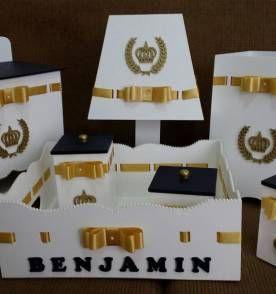 Kit Higiene Bebe Menino Azul Marinho e Dourado