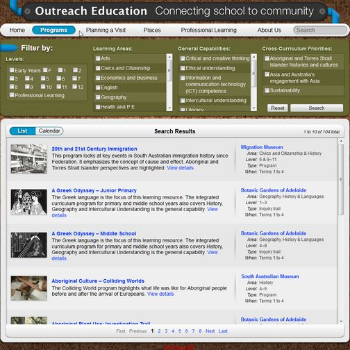 Find Outreach Education programs by learning level/year level; general capabilities; cross-curriculum priorities.