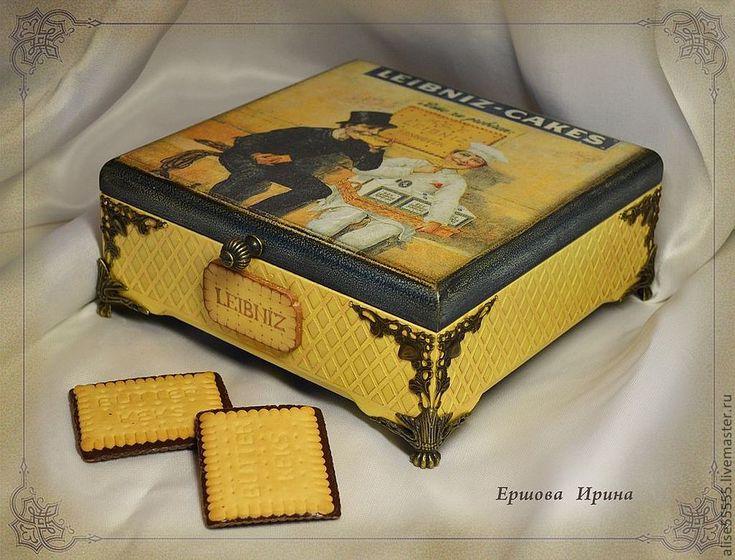 """Купить Шкатулка """"Печенька"""" - желтый, шкатулка, шкатулка для чая, кухонный интерьер, набор для кухни"""