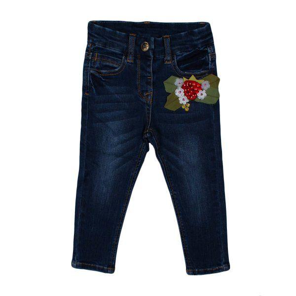 JEANS BLU BEBE' E BAMBINA - MONNALISA Jeans blu scuro con fragolina rossa e strass firmato Monnalisa della nuova Collezione Bambina Primavera Estate '17 - Linea di abbigliamento New Born e Baby.