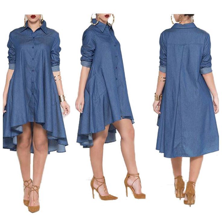 2017 Europe and America Style Women's Slim Turn-down Collar Loose Long Sleeve Denim Dress S-XL DS3117