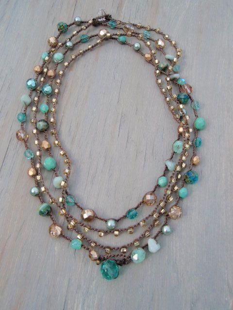 Boho chic crochet wrap necklace/ bracelet by slashKnots on etsy