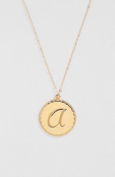 Moon and Lola 'Dalton' Long Initial Pendant Necklace ($76) // Thea Queen