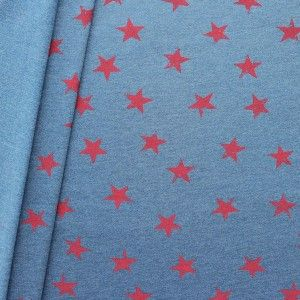 "Sweatshirt Cotton ""Stars Used Look"" Color Blue mottled-red"