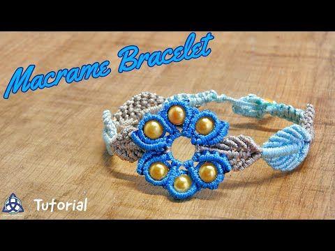 Macrame Bracelet Tutorial | Flower and Leaves Design - YouTube