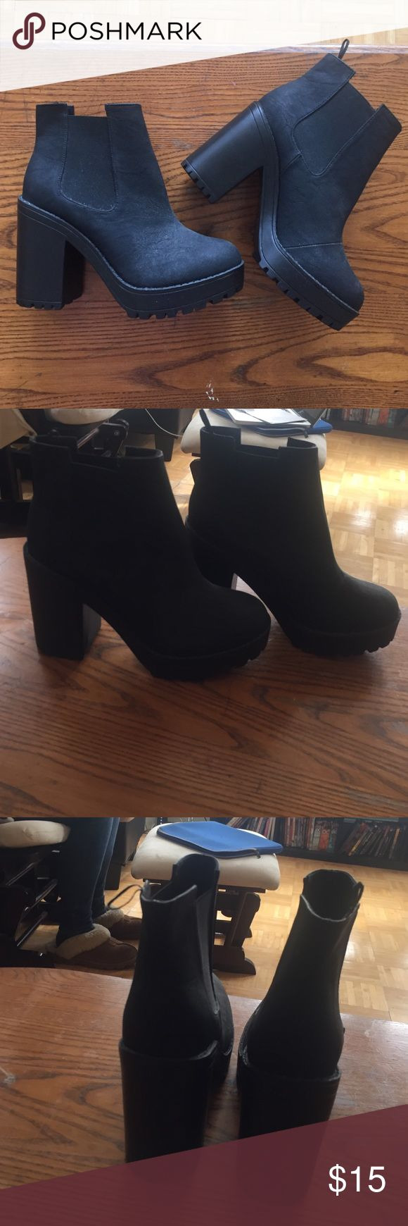 Black wedge Ankle boot-never been worn Black heeled platform boot. Never been worn, tags have been removed but sticker on bottom of heel. H&M Shoes Ankle Boots & Booties