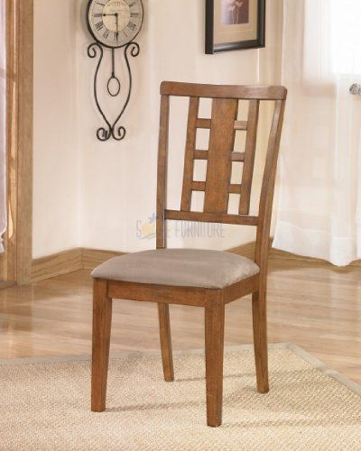 Set of 2 Medium Brown Dining Side Chair by Ashley Furniture - http://www.furniturendecor.com/set-of-2-medium-brown-dining-side-chair-by/ - Categories:Dining Chairs, Dining Room Furniture, Furniture, Home and Kitchen