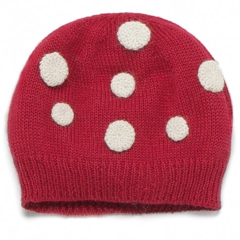 Sweet William Ltd, oeuf mushroom hat (red/white) Hand knit hat with a mushroom-shaped head topped with winter white dots. Hat inspired by mushrooms that grow in nature around pine trees. 100% baby alpaca