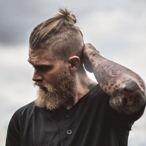 Thick Blonde Beard with Top Knot