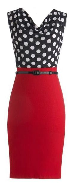 Navy polka dot top with red skirt and red jeans (inspiration for wrap dress refashion)