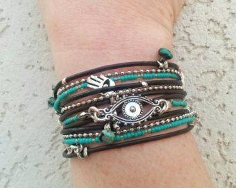 Boze oog Wrap armband Beaded Wrap armband leer door DesignsbyNoa