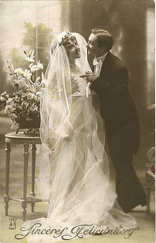 photo inspiration  Vintage Postcard ~ Bride & Groom, via Flickr.