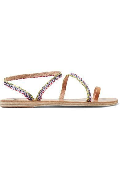 Ancient Greek Sandals - Eleftheria Raffia And Leather Sandals - Neutral - IT41