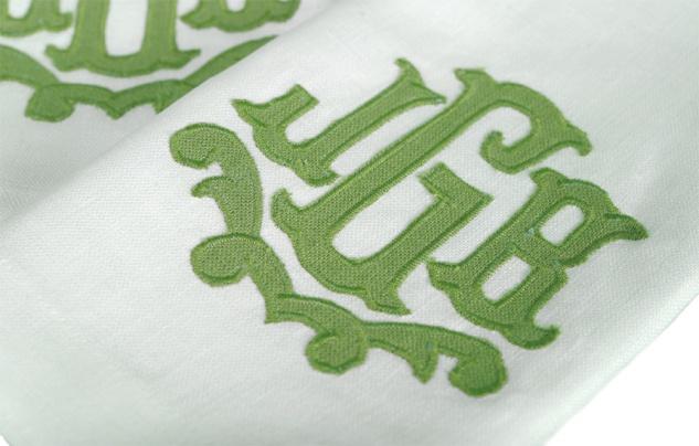 Hemstitched Linen Guest Towels, w/ Rayford Applique monogram   Leotine Linens