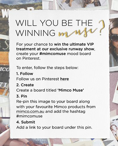 Mimco Muse Pinterest competition instructions #mimcomuse